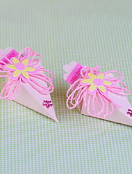 Pyramid Shaped Favor Box With Ribbon and Flower for Baby Shower - Set of 12