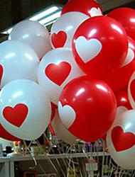 50 Pcs White & Red Amar Coração Padrão Carnaval Balão (cor aleatória)