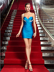 Sheath/Column One Shoulder Short/Mini Jersey Cocktail Dress (699472)