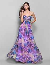 Formal Evening/Prom/Military Ball Dress - Print A-line/Princess Strapless/Sweetheart Floor-length Chiffon
