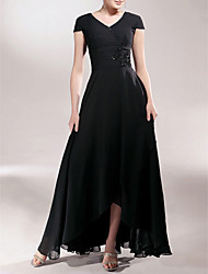 LAN TING BRIDE Sheath / Column Plus Size Petite Mother of the Bride Dress - Little Black Dress Asymmetrical Short Sleeve Chiffon with