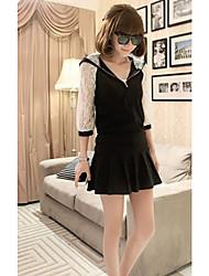 Women's Lace Half Sleeve Suit(Hoodie & Skirt)