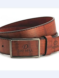 Men's White/Black/Brown Metal Buckle Faux Leather Belt