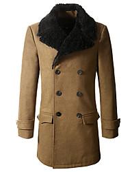 Men'S Double Breasted Long Woolen Collar Coat