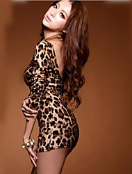 Women 's Hot Sexy Leopard Long Sleeve Open Back Bodycon Clubwear Mini Dress