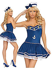 Seductora Chica Ink Blue Anchor Sign Naval uniforme