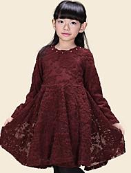 Col rond en dentelle taille mince belle robe de la fille