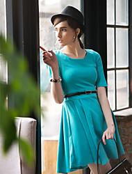 TS Simplicity Round Collar Half Sleeve Swing Dress