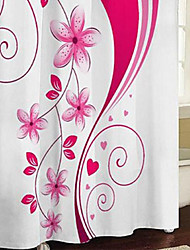 "Shower Curtain Modern Pink Floral Print Thick Fabric Water-resistant W71"" x L71"""