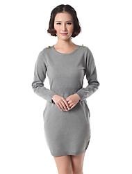 YOLUK Einfache Runde Kragen-dünne Pullover Kleid (Grau)