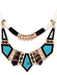 Luxurious Fabric Blue Geometry Statement Necklace