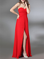 TS Couture Formal Evening Military Ball Dress - Furcal Sheath / Column Strapless Sweetheart Floor-length Chiffon Stretch Satin withSide