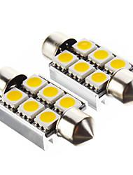 Ampoule de feston 1.4W 100LM 6x5050SMD 3000K lumière blanche chaude LED pour la voiture (12V, 2 pcs)