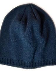 Mode Beanie Knited Cap Keep Warm acrylique souple de chapeau d'hiver et Taille unique noir pur