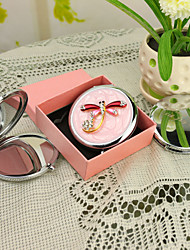 Personalized Gift Dragonfly Style Pink Chrome Compact Mirror