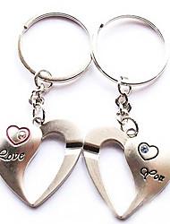 Heart Matching Keychain With Rhinestone - Set of One Pair