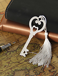 Silver Heart&Key Bookmark with Tassel