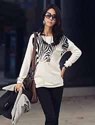 Kvinnors Round Neck Zebra Print långärmad Loose T-shirt
