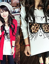 Women's Leopard Glasses Cat Casual Long Sleeve T-Shirts