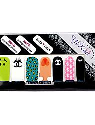 14PCS plein pointe Nail Art Stickers muraux mignon environnement enceinte