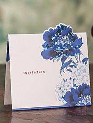 Asian Theme Square Blue&White Wedding Invitation - Set of 50