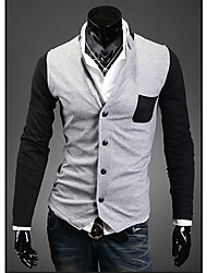 Men's Casual/Daily Cardigan,Color Block Long Sleeve Others