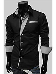 de v rayas personales manga larga camisa de adelgazamiento (negro)