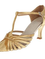 Women's Customized Heel Satin Upper T Strap Ballroom Latin Dance Shoes