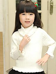 Girl's Stand Collar Ruffle Hem Sweater