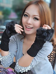 Women's Long Paragraph Knitted Faux Fur Mitten