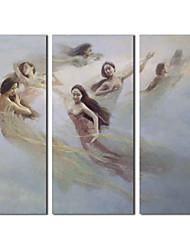 Ручная роспись маслом Люди Rapture Фея с растянутыми кадр Набор 3