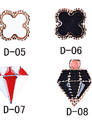 10PCS Alloy Gilt-edged Nail Art Decorations D-series No.5-8(Assorted Pattern)