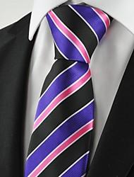 New strisce viola e nero Mens Tie Cravatta Partito per Wedding Souvenir