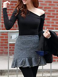 Sexy Frauen Unregelmäßige Neck Kleid