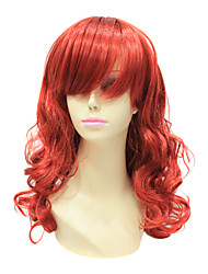 Capless Japanese Kanekalon Red Long Curly Wig For Women