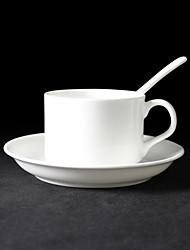 Pure White elegante tazza di caffè con piatto e cucchiaio, porcellana 5 once
