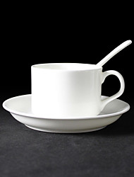 Pure White Elegant Coffee Mug with Plate and Spoon,Porcelain 5oz