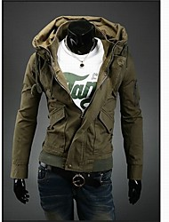 ZHELINDouble Kragen Freizeit Mantel-Farbe Reißverschluss Jacke