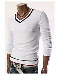 Herren T-shirt-Einfarbig Freizeit Baumwolle Lang-Schwarz / Rot / Weiß