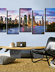 Stretched Canvas Print Art Landscape Beside River Set of 5