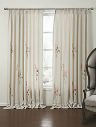 (Two Panels)Country Chinese Painting Style Floral Eco-friendly Curtain