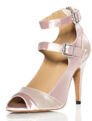 Amazing Satin & PU Double Arch Strap Latin Dance Sandals For Ladies(More Colors)