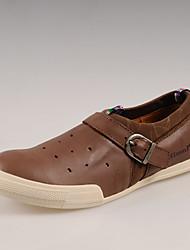 Simul respirant première couche de cuir chaussures paresseuses Mesh Chaussures (café)