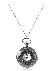 Herren Edle Design Schwarz-Legierungs-Quarz-Taschen-Uhr
