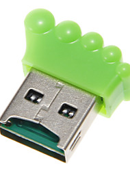 Mini USB Foot Shaped Memory Card Reader (Green)