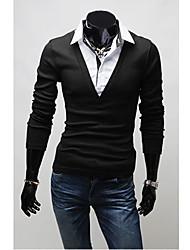 v vintage gefälschte 2 Stück Langarm Schlankheits-T-Shirt (schwarz)