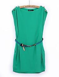 Tripulação do pescoço vestido sem mangas da Mulher Lantern Button-Ombro