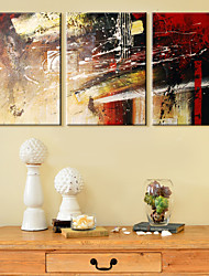 Stretched Canvas Print Art Abstract Red Pigment Set of 3
