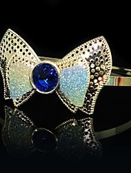 Золото Проба ободки с голубыми стразами бантом Свадебные заставки