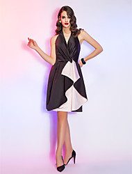 A-Line Halter Knee Length Satin Cocktail Party Homecoming Holiday Dress with Criss Cross by TS Couture®